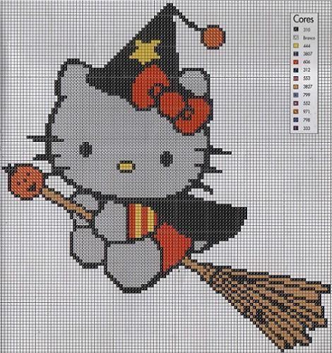 Hello Kitty bruja a punto de cruz  PUNTO DE CRUZ  Pinterest