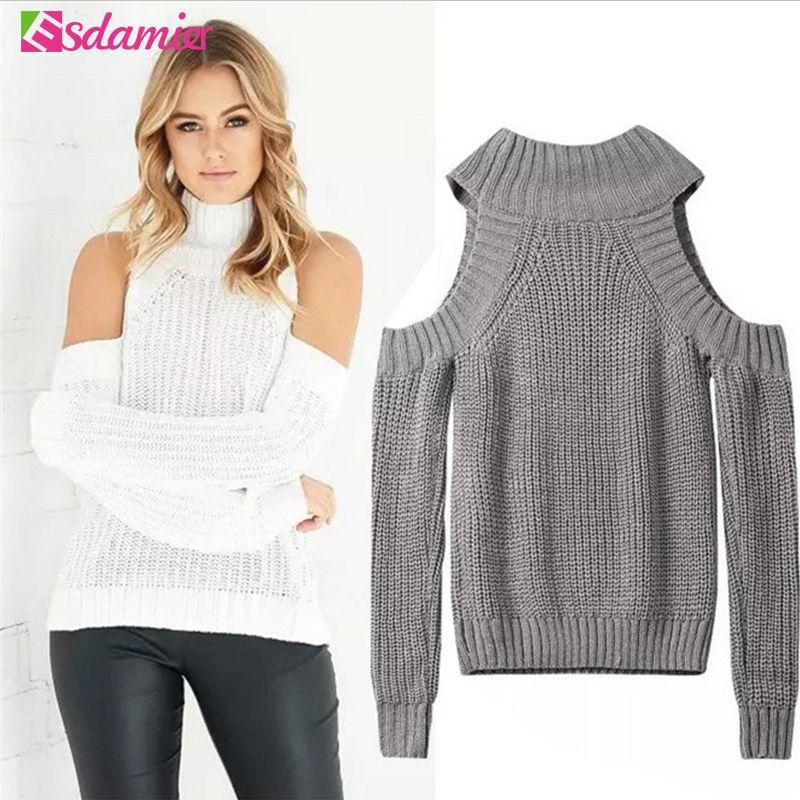 Rollkragen Schulterfrei Sweater Frauen Sexy Pullover Tricot Oversize Jumper Pull Femme Herbst Mode Gestrickte Top