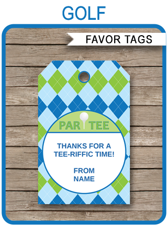 golf party favor tags thank you tags birthday party editable