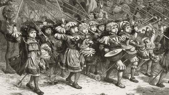 Kindersoldaten in Landsknechtskluft – eine historische Fantasie des 19. Jahrhunderts
