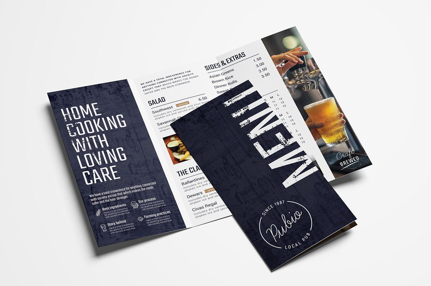 Bar TriFold Menu Template (With images) Menu design