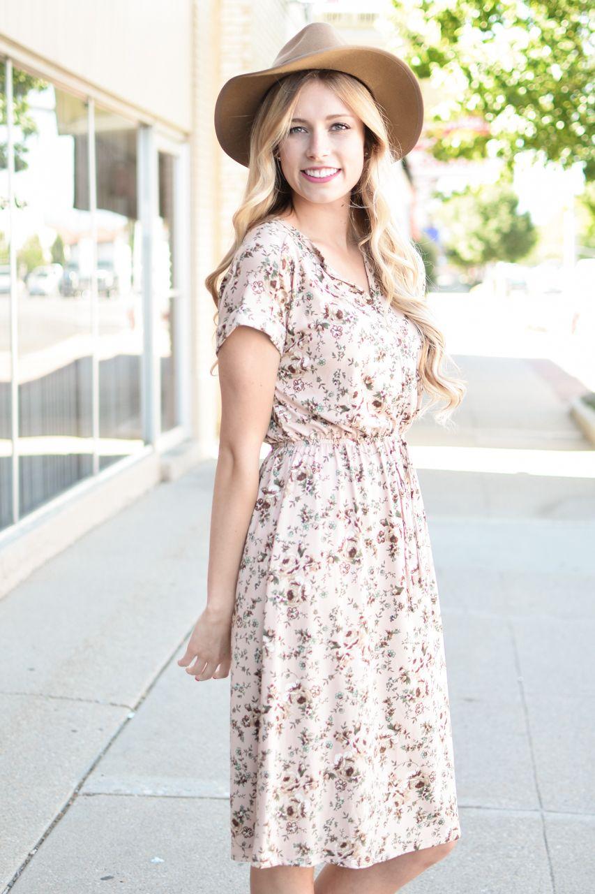4ea26b71c05 My Sister s Closet Boutique Tea N Rose Blush Floral Tie Waist Dress -  38