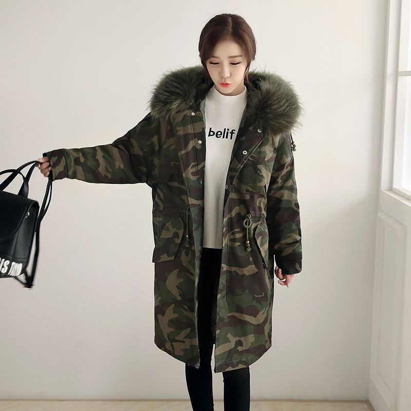 78.62$  Watch now - http://alipkn.shopchina.info/go.php?t=32761542738 - 2017 New Winter Women Long Coat Camouflage Fur Collar Hooded Cotton Jacket Thick Warm Loose Parka Coat Female Armygreen Overcoat  #aliexpress