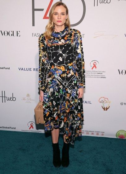 Pretty in Preen! Kruger opts for a flirty floral sheath at luncheon in NYC.