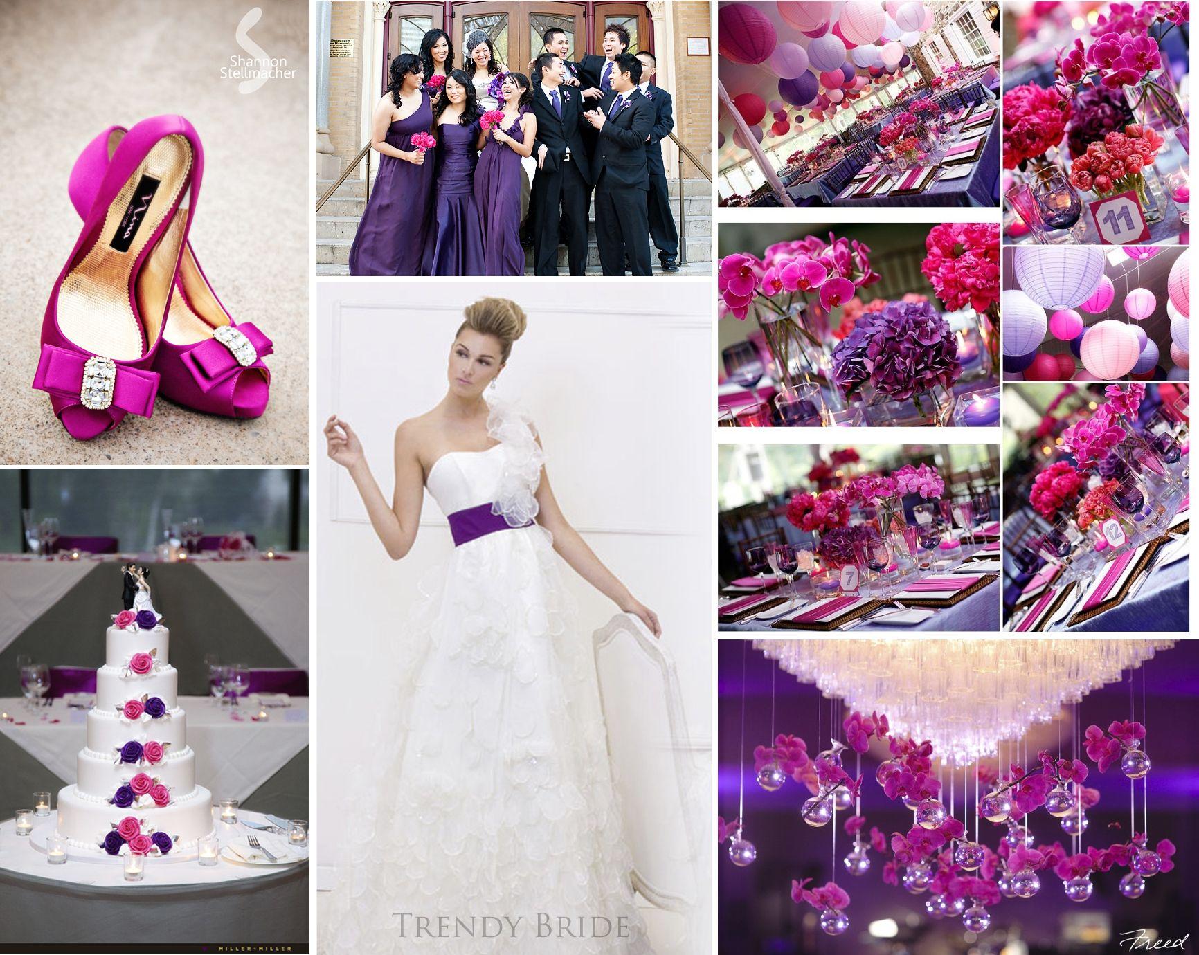 Hot Pink and Purple Wedding Inspiration Board | Purple wedding ...