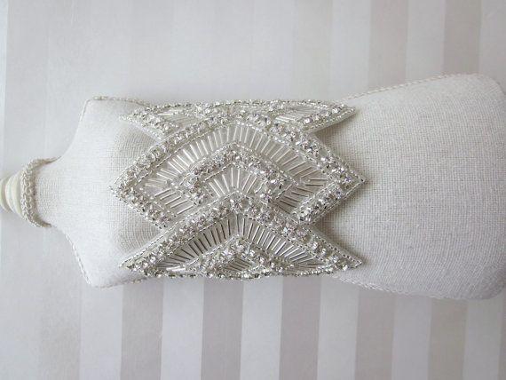 Beaded Art deco Bracelet, rhinestone ribbon tied bracelet, wide diamond shape cuff