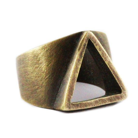 IN STOCK Mens Ring Gold Triangle Rings Oxidized Brass