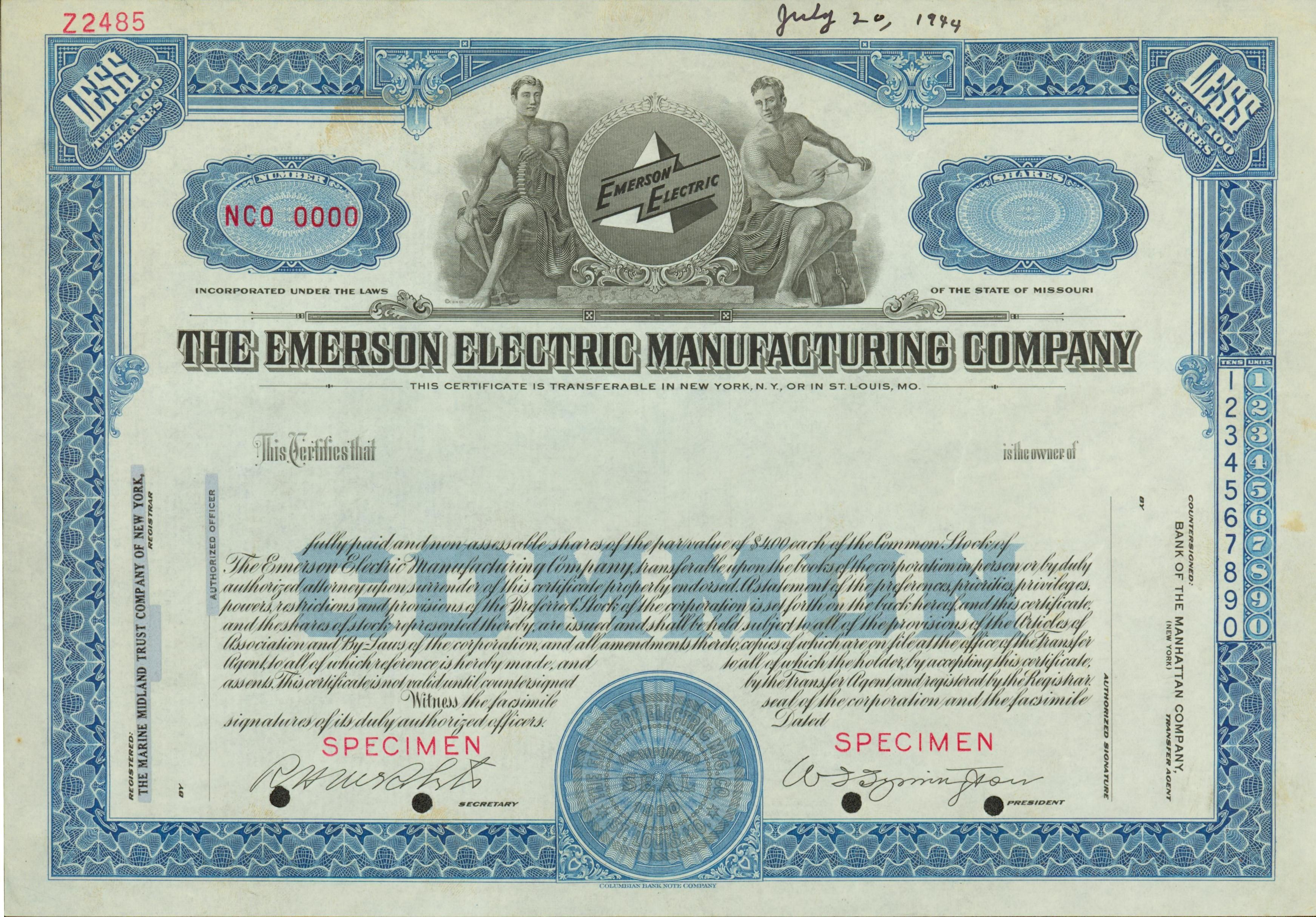 Emerson Electric Stock Certificate 1944 Original Stock
