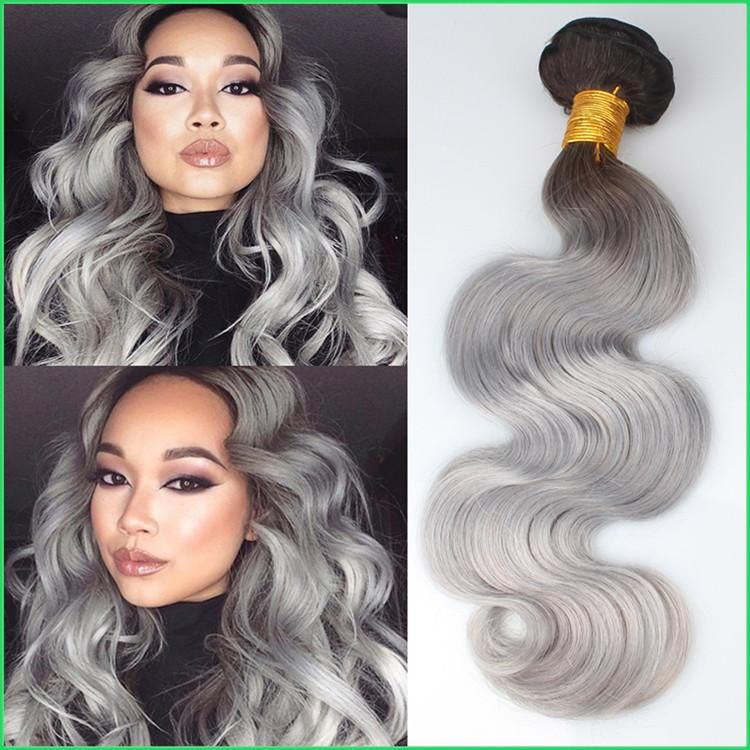 Peruvian Body Wave Silver Grey Hair Weavestwo Tone Ombre Body Wave