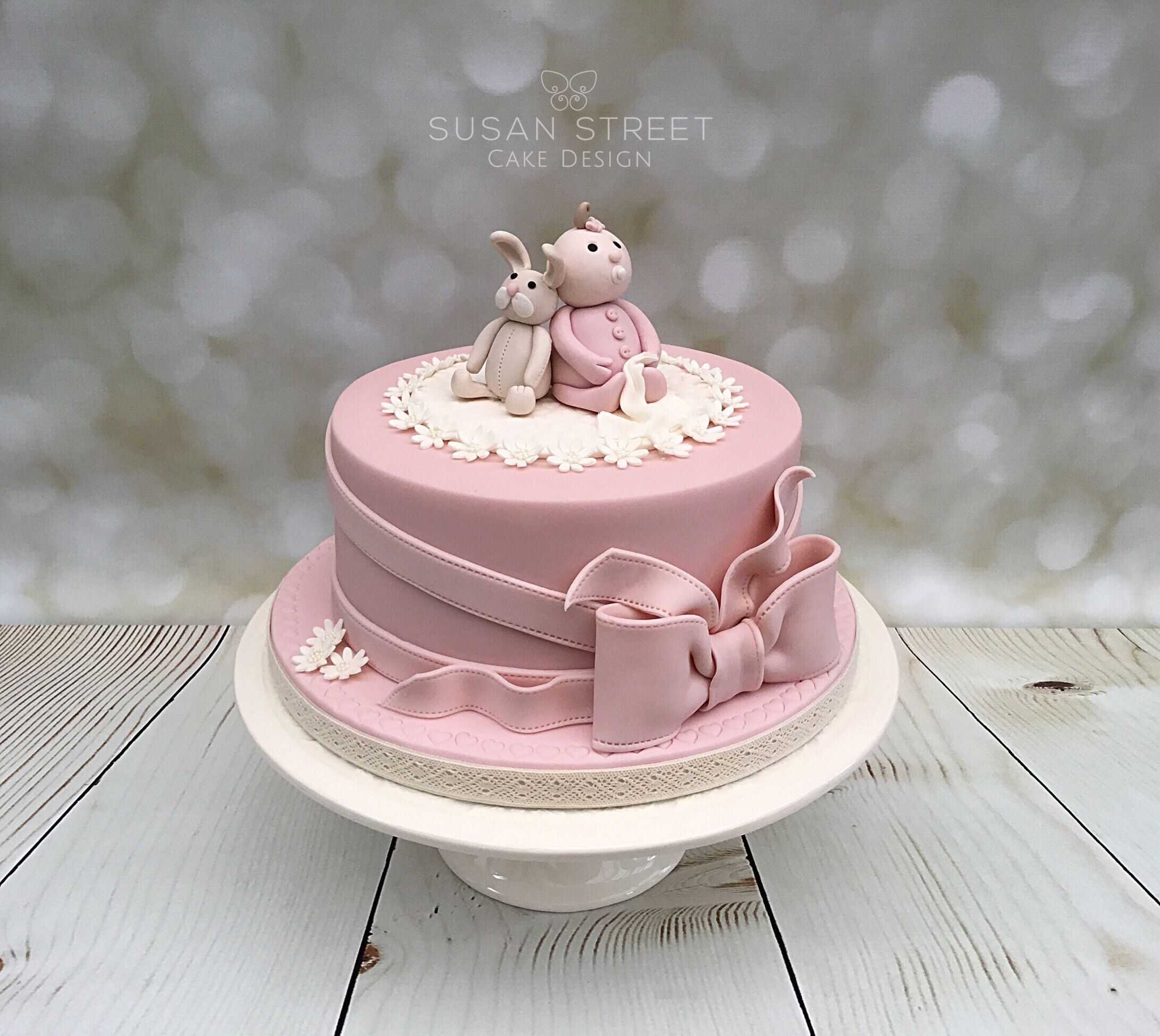 Pretty vintage pink & ivory Baby Shower cake for a girl