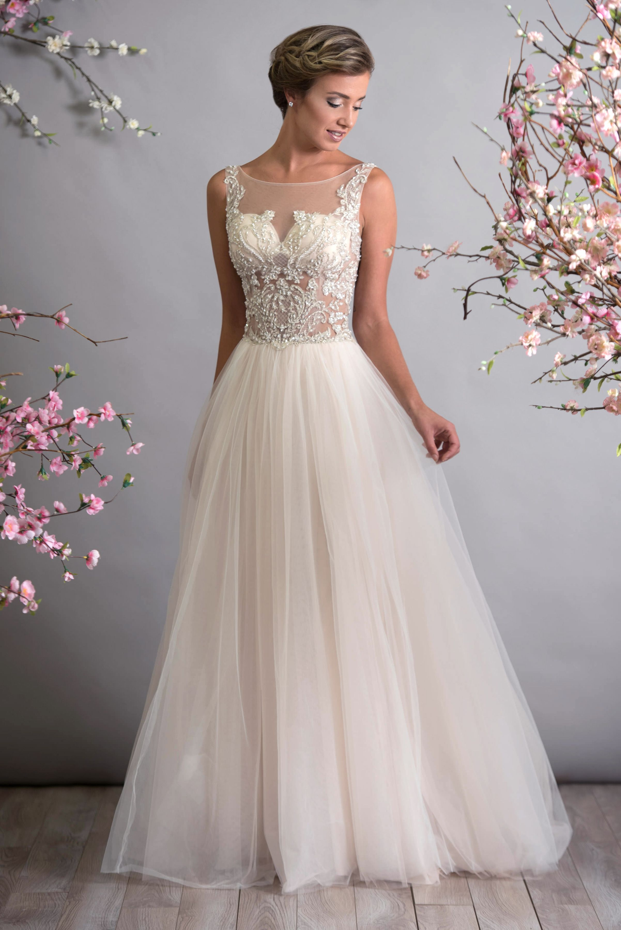 Gorgeous Illusion Bodice With Beaded Embroidery Available Sheer Or Fully Lined Sizes 00 30