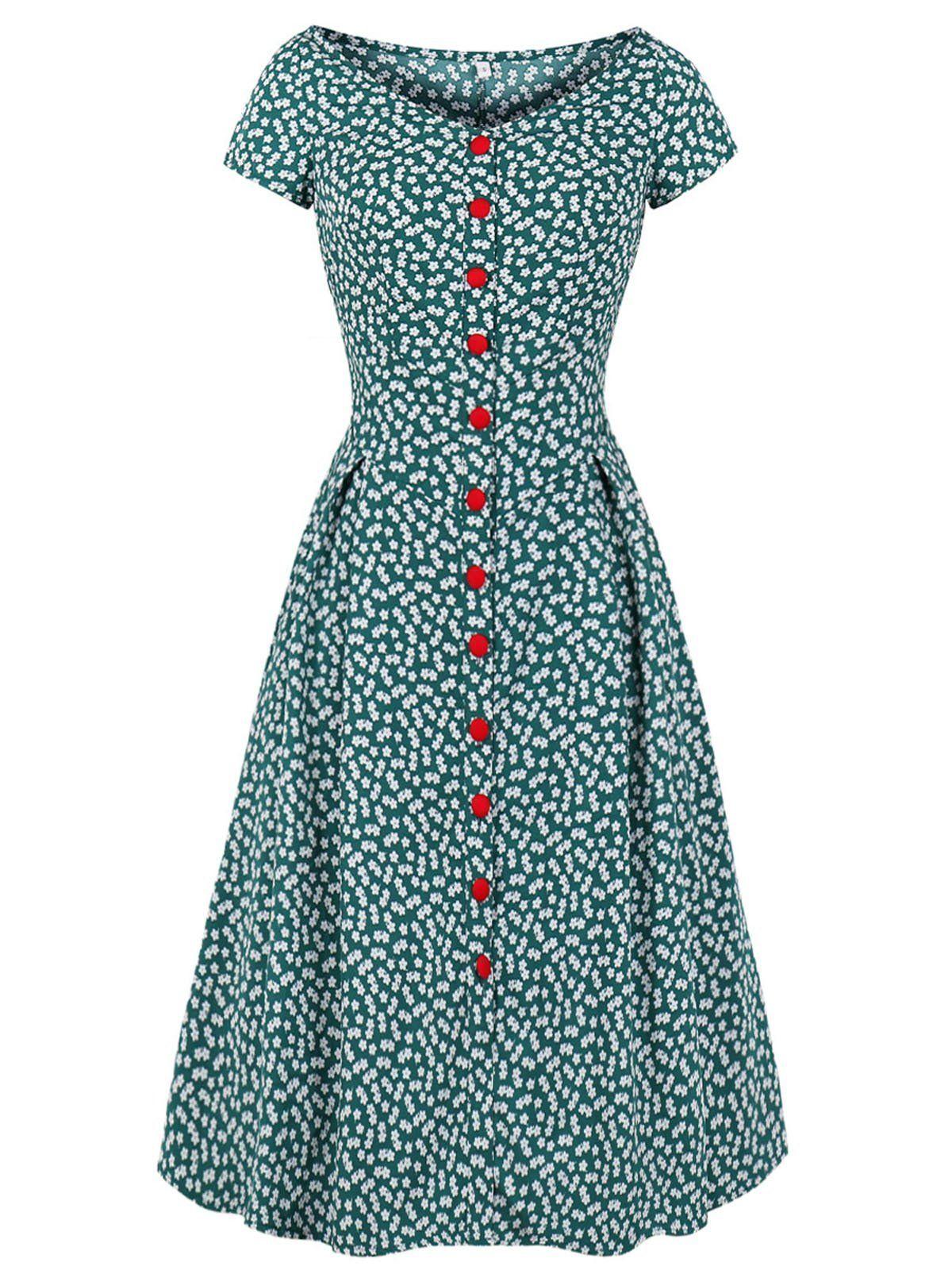Green 1940s Floral Loose Button Dress Elegant Summer Dresses Vintage Dresses Elegant Dresses For Women [ 1600 x 1200 Pixel ]