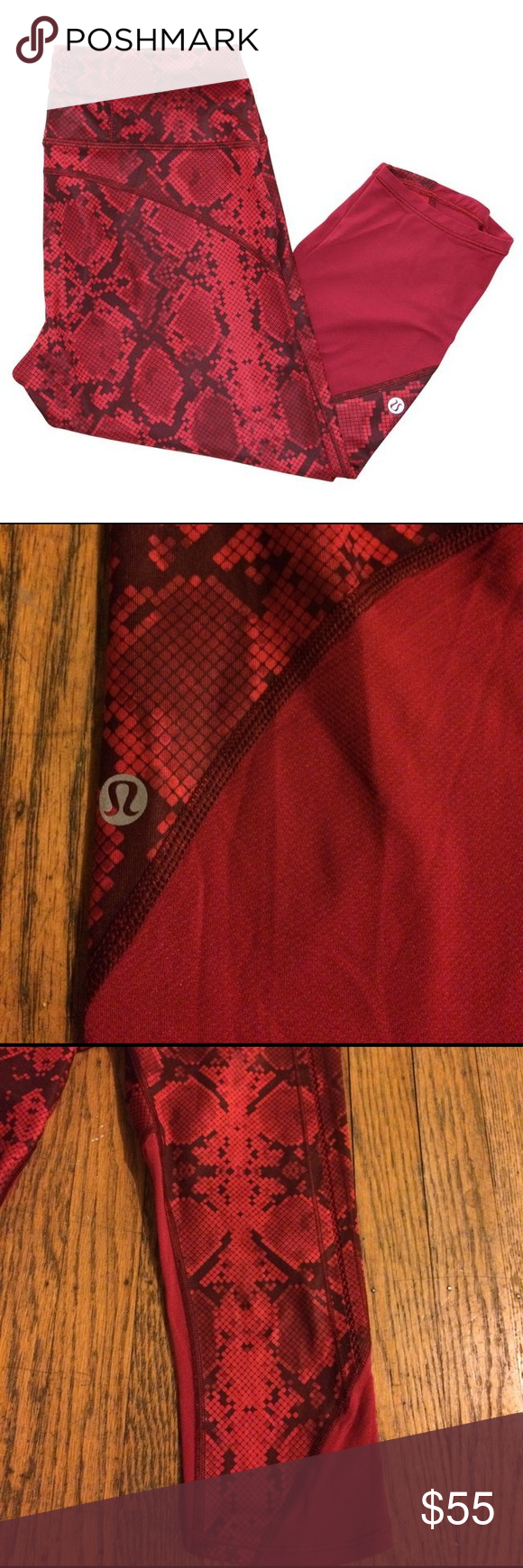 Lululemon Running and Yoga Capri Snakeskin print with stitched open detail on outside thighs. Great used condition. So cute! lululemon athletica Pants Leggings
