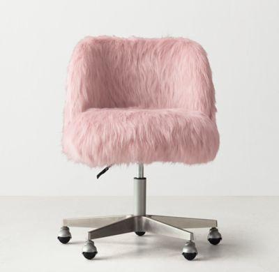 rh teen's alessa dusty rose kashmir faux fur desk chair - pewter