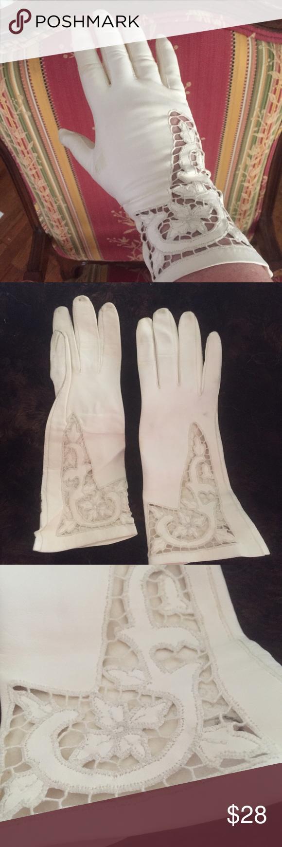 Ladies long vintage leather gloves - Vintage Ladies Leather Gloves W Laser Cut Lace