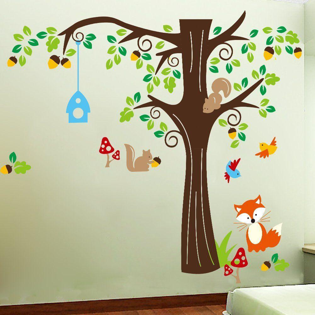 Wandtattoo Baum Mit Eichhornchen Und Fuchs Tolle Deko Fur Ein Wald Kinderzimmer Mysh