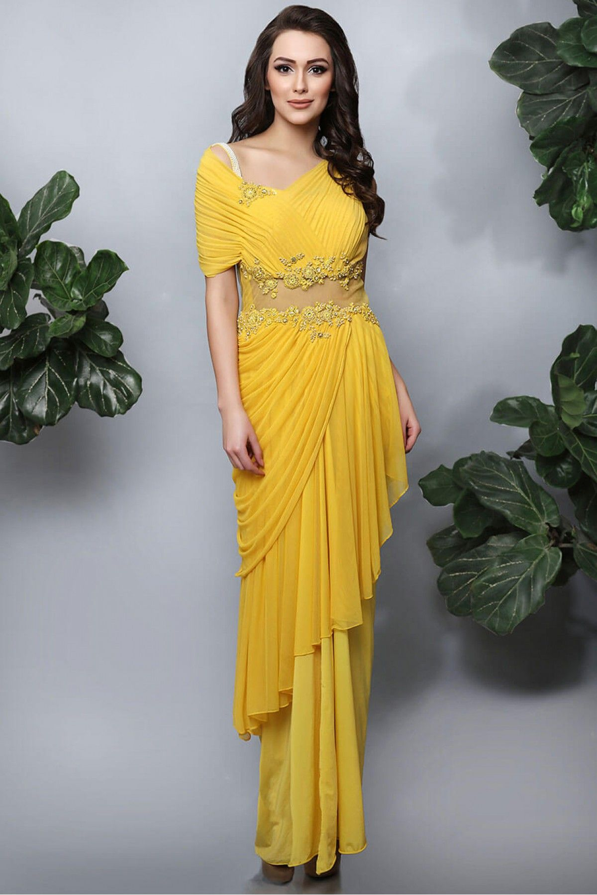 Buy Georgette Gown In Yellow Colour for women   ninecolours.com. Worldwide Free  Shipping Available! 293780ffe9ab