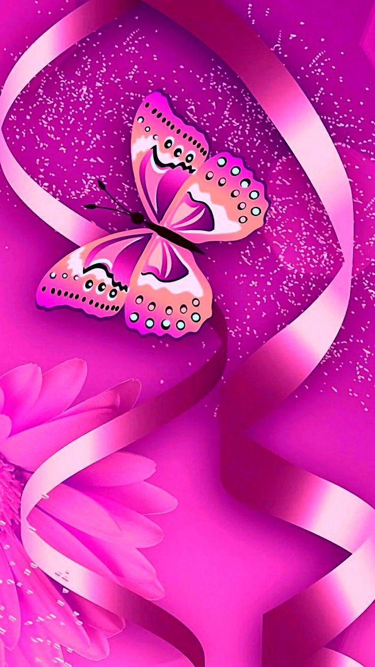 Pink Butterfly Butterfly Wallpaper Bling Wallpaper Iphone Wallpaper