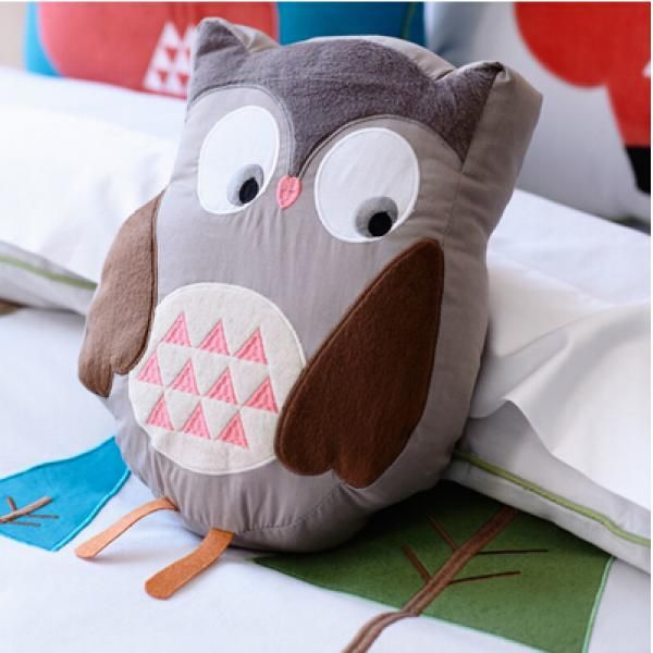 3D owl creative gray body pillow for kids toys