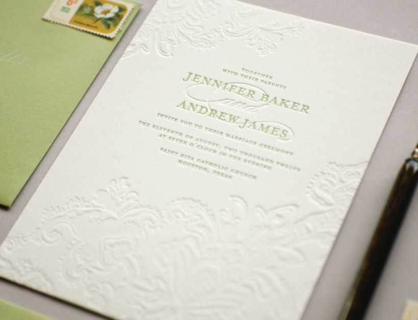 Lace Wedding Invitations White Paper Letterpress Design Interesting