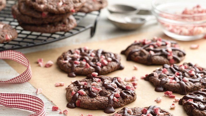 Peppermint Fudge Brownie Cookies - These easy, minty brownie cookies made with Betty Crocker™ fudge brownie mix are sure to become a holiday favorite.