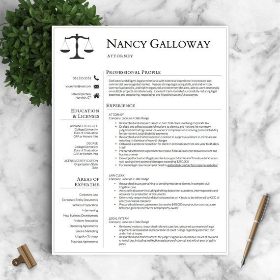 Legal Resume Template for Word \ Pages by LandedDesignStudio - lawyer resume template