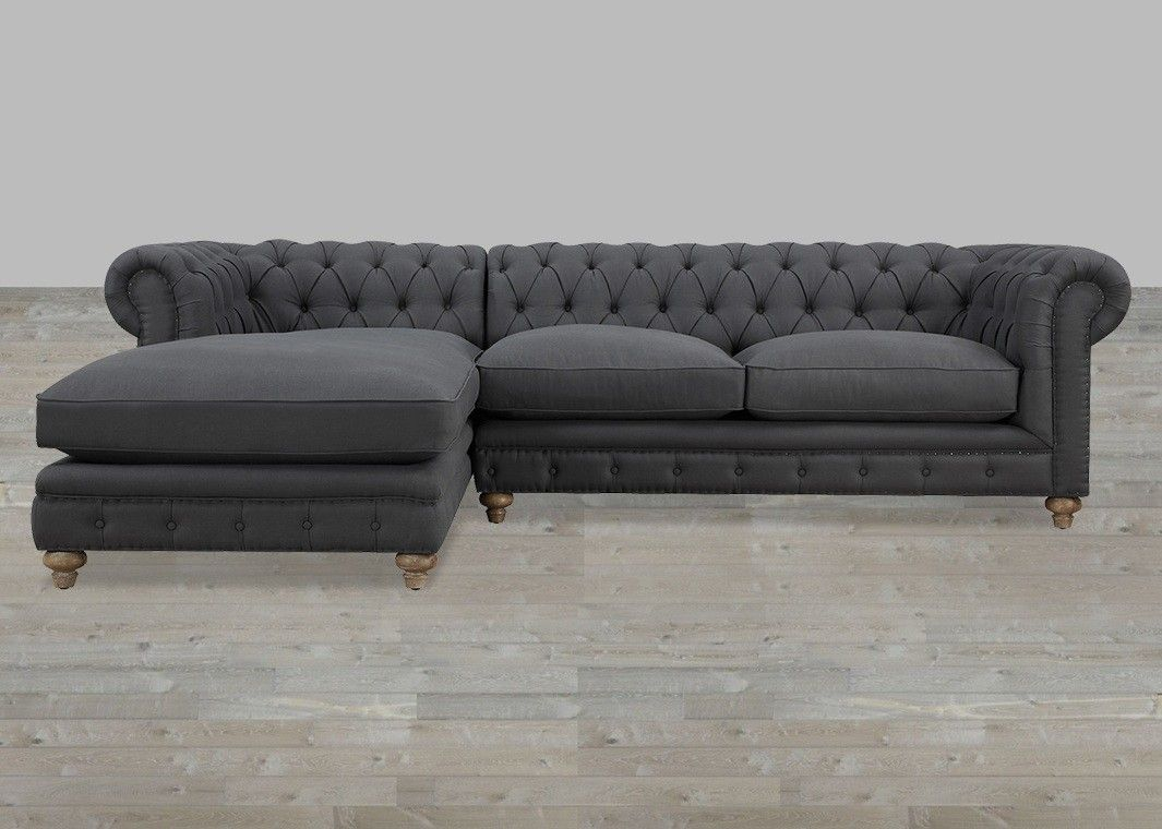 Grey Linen Raf Sectional Button Tufted With Nailheads Tufted