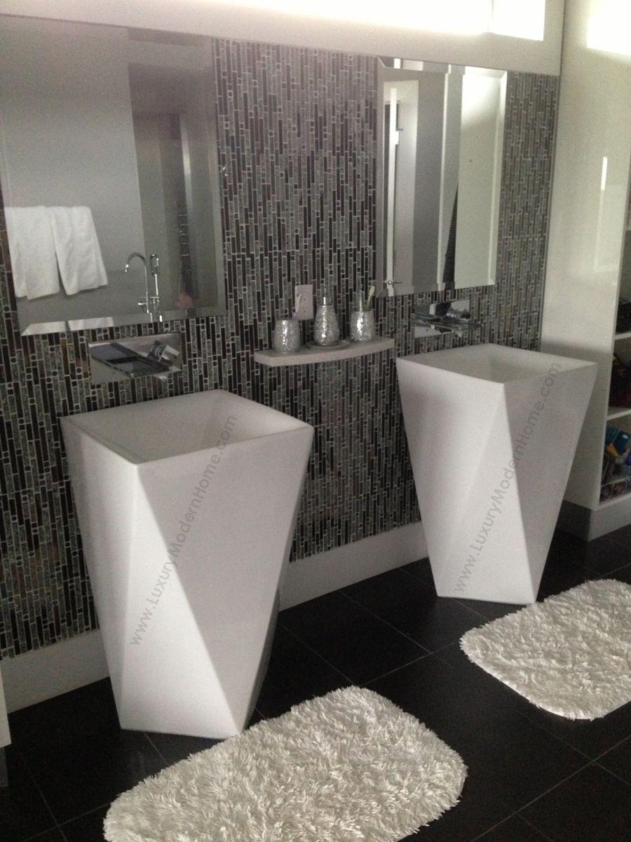 Vespasian 20 Inch Square Corner Pedestal Sink For Wall Or Floor Mount Faucet Tiny Bathrooms Corner Pedestal Sink Washbasin Design