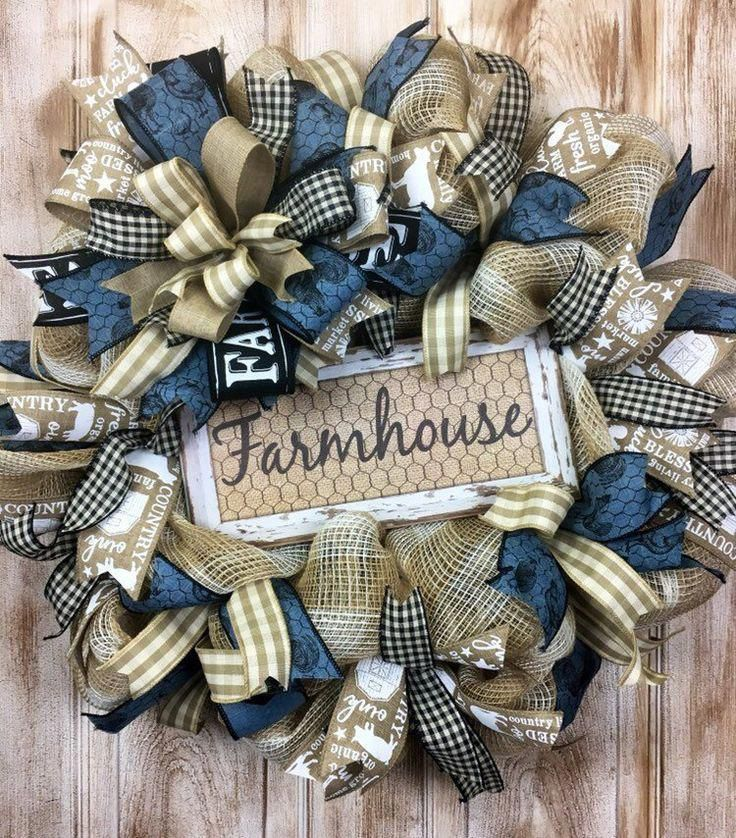Photo of Excited to share this item from my #etsy shop: Farmhouse mesh wreath, moderm rus…