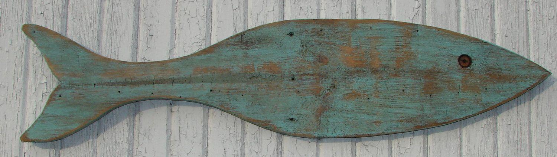 Large Wood Fish Reclaimed Wood Wall Art 35 00 Via Etsy