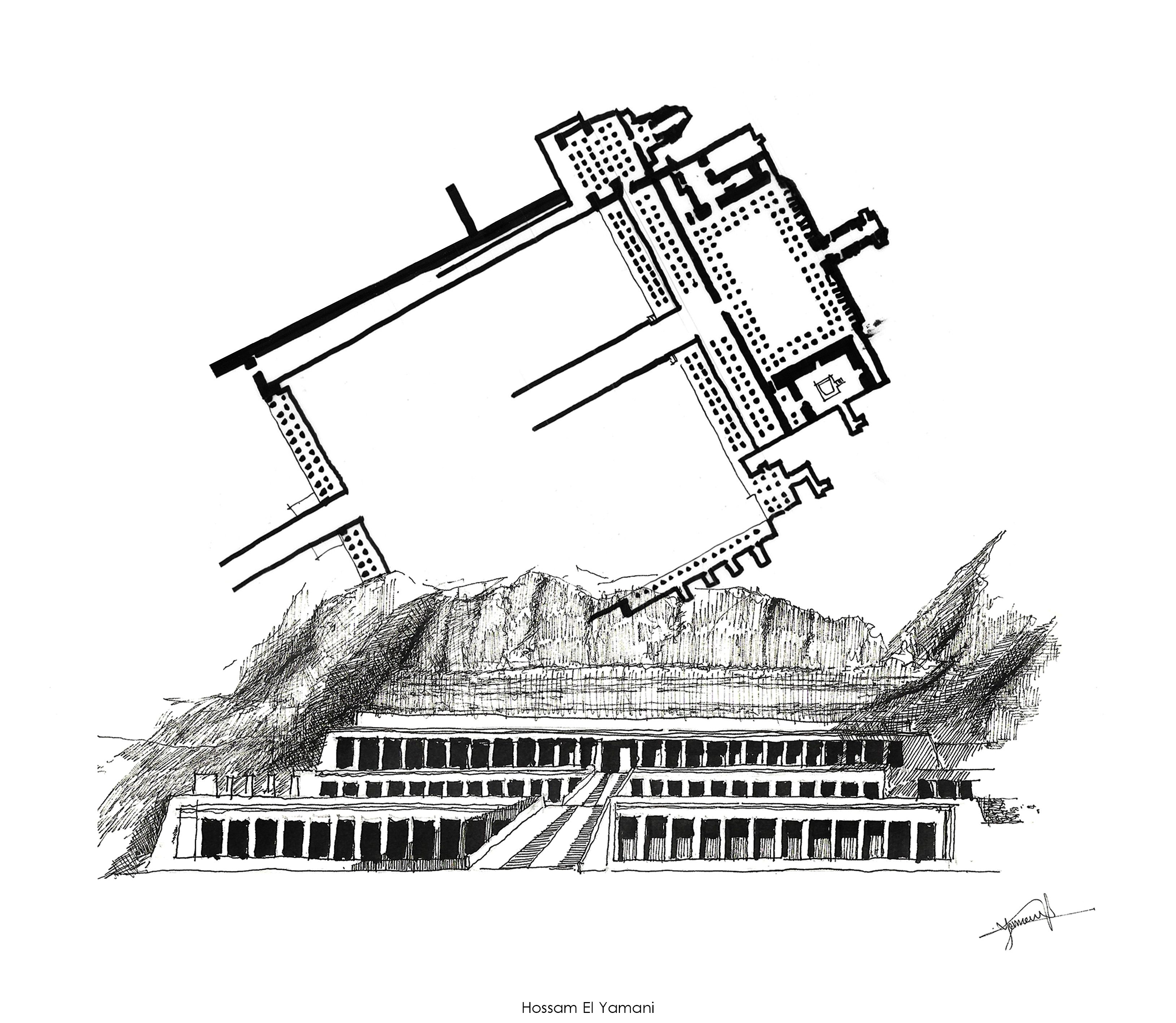 The Mortuary Temple Of Queen Hatshepsut Located Beneath The Cliffs At Deir El Bahari Ink Drawing Us Architecture Sketch Architecture History Temple Drawing