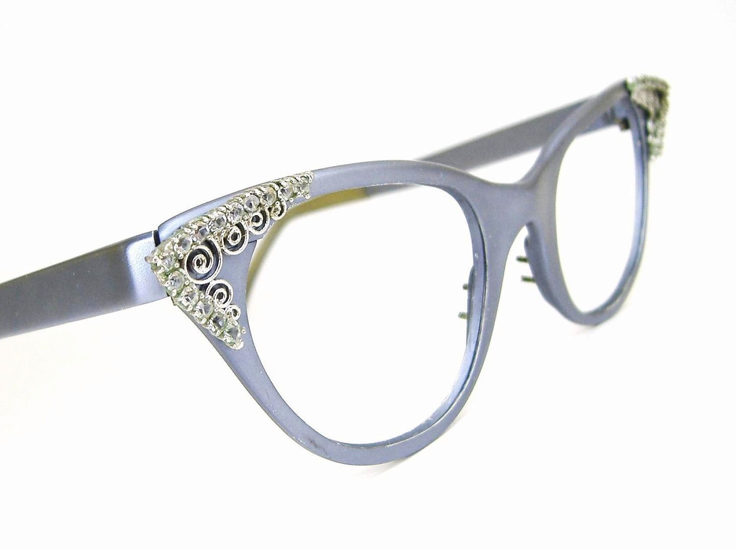 Vintage 50s Cat Eye Eyeglasses Frame Purple with Rhinestones Tura ...