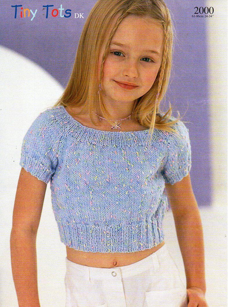 Knit Crop Top Pattern : Girls crop top Knitting Pattern PDF childrens top summer ...
