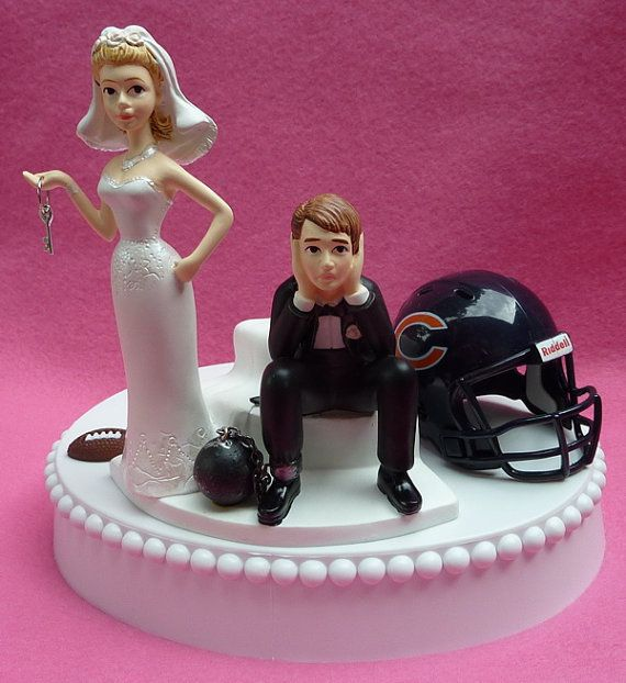 Wedding Cake Topper Chicago Bears Football Themed Ball and Chain Key ...