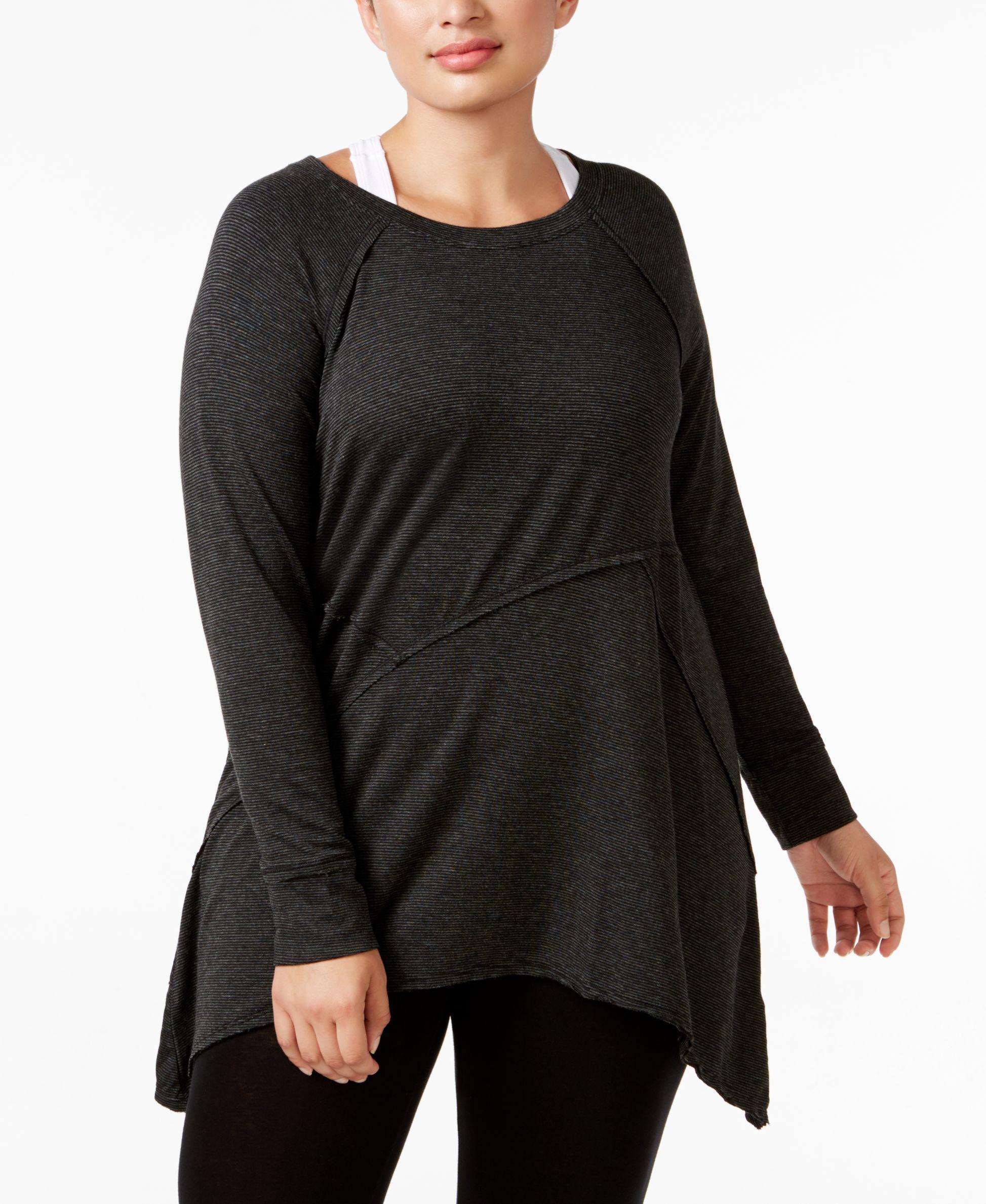 abde49bce8e Calvin Klein Performance Plus Size Long-Sleeve Asymmetrical-Hem Tunic