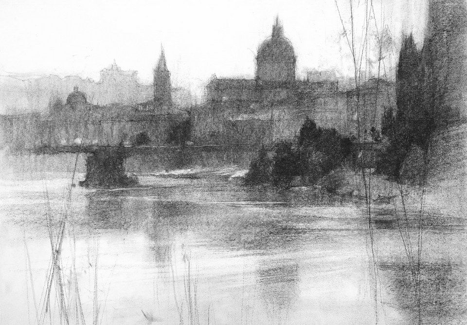 Chien Chung Wei Charcoal Landscape Sketch Step 4 Landscape Drawings Landscape Sketch Charcoal Drawing