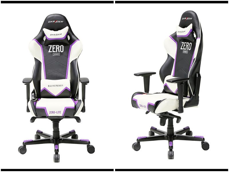 Dxracer racing chair black white and purple.# ...