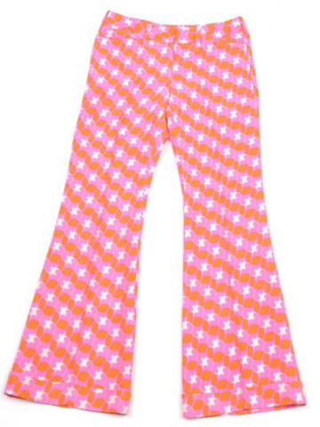 Named for Jules's youngest son.Sexy and sophisticated. Cuff at bottom, Tight around upper legs with flared bottoms. Silk handmade ikat or printed douppioni silk. Our #1 all time best seller. This pant in the PINK IKAT runs one size big. If you are a size 8, you would purchase a size 6. Sizing for the Wyatt has changed since this first season. The Wyatt in other seasons runs true to size.