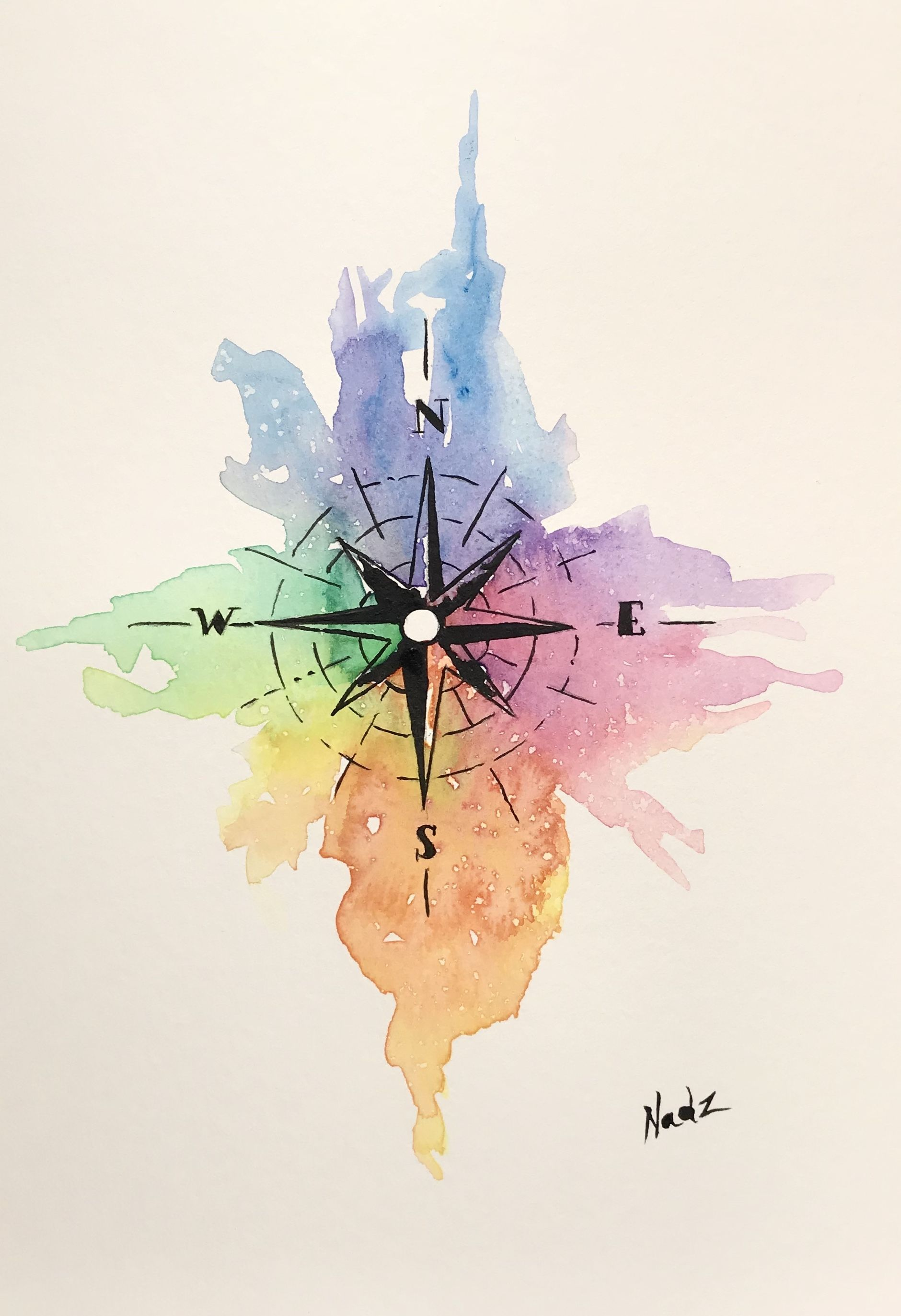 Watercolor Painting Etsy Compass Gift Idea Peinture De