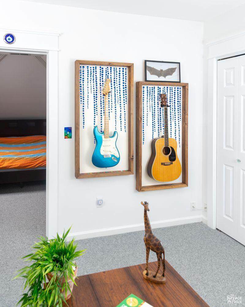 Diy Guitar Display Frame In 2020 Guitar Display Wall Guitar Display Hang Guitar On Wall