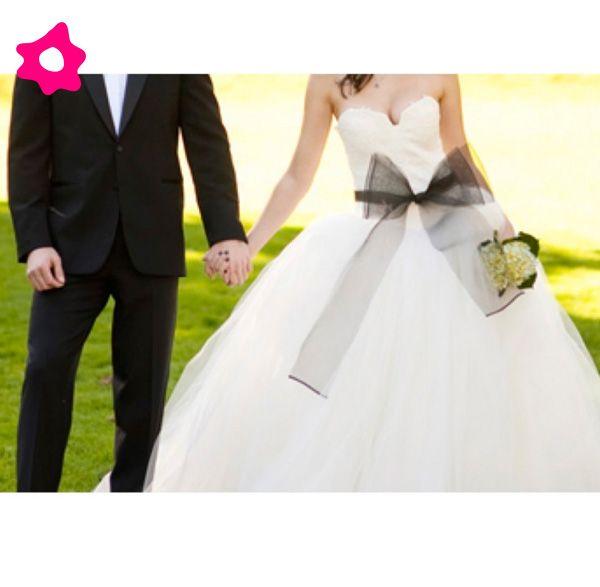 Cinto de laço negro para o vestido de noiva