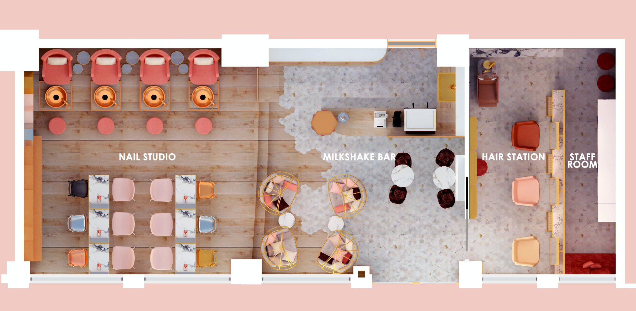 Nail Salon & Cafe Floor Plan images