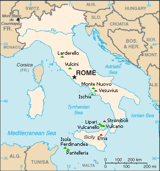 Mainland Europe Map.Italy Volcano Map Red Triangles Eruptions Within The Last 100