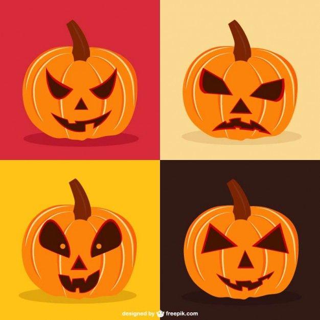Conjunto De Vectores De Calabazas De Halloween Calabazas De Halloween Calabazas Halloween