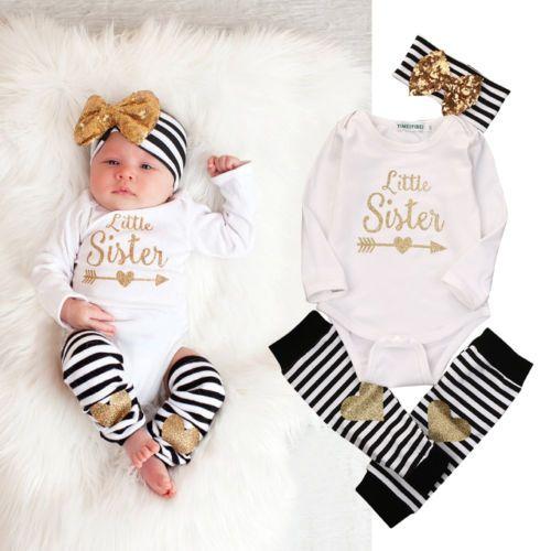 0-18 M Neonato Neonate Vestiti Sorellina Body Manica Lunga Pagliaccetto A Strisce Scaldino Bow Hairband 3 pz Abbigliamento Bambini