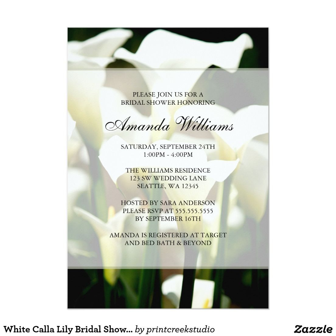 White Calla Lily Bridal Shower Invitations   Bridal Shower paper ...