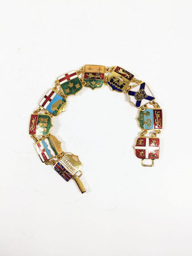 Colorful Canada Bracelet Province Links Vintage 1950s 1960s Etsy Patriotic Jewelry Mimi Jewelry Jewelry Gifts
