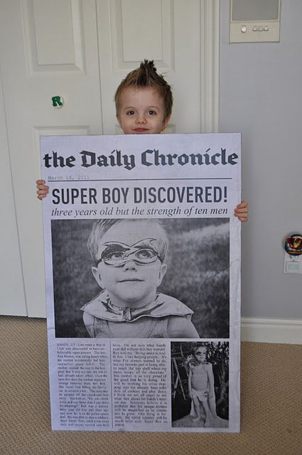 DIY giant newspaper article featuring your kid...for a superhero party!
