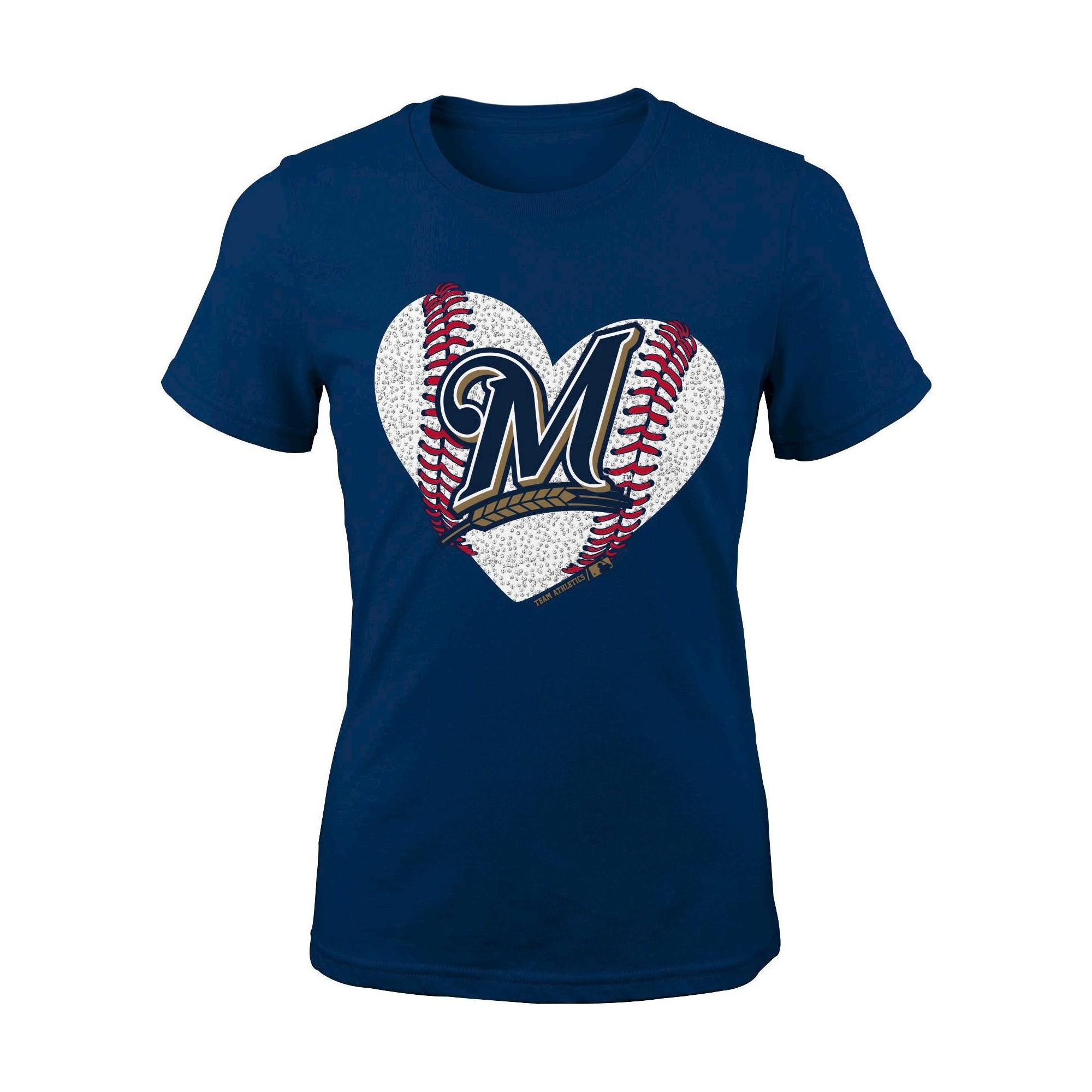 Milwaukee Brewers Girls Crew Neck TShirt XL, Multicolored