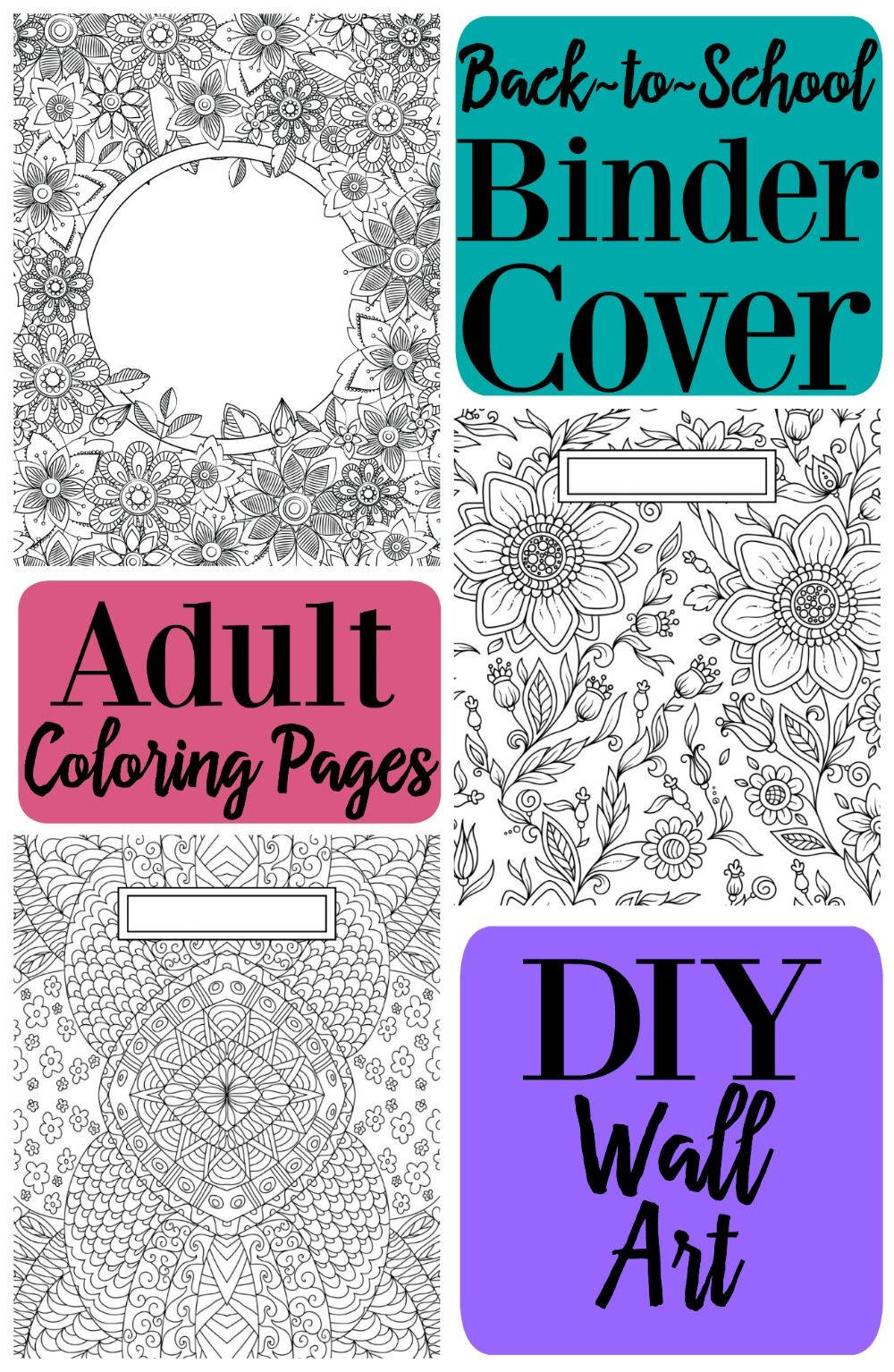 Back to School Binder Cover Adult Coloring Pages DIY Wall ...